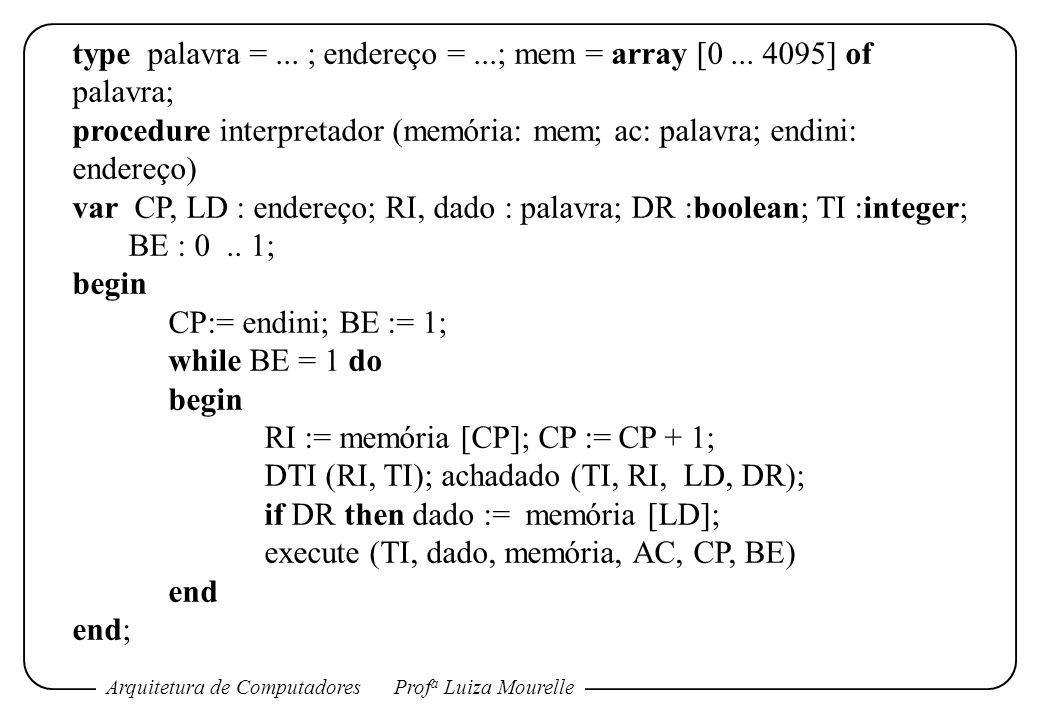 type palavra = ... ; endereço = ...; mem = array [0 ... 4095] of palavra;